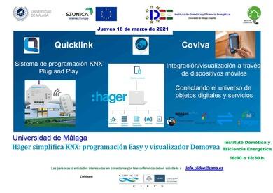 Conferencia Online: Quicklink: Sistema de Programación KNX y Simulador Domovea, de Häger , dia 18/03/21 16.30 horas