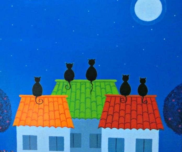 Gatos en el tejado, oleo sobre tela, 30x30cm, 225€