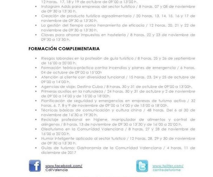 Cursos en los Centros de Desarrollo Turístico de Benidorm y Valencia: Especialidades de Psicóloga Rosario Ortuño