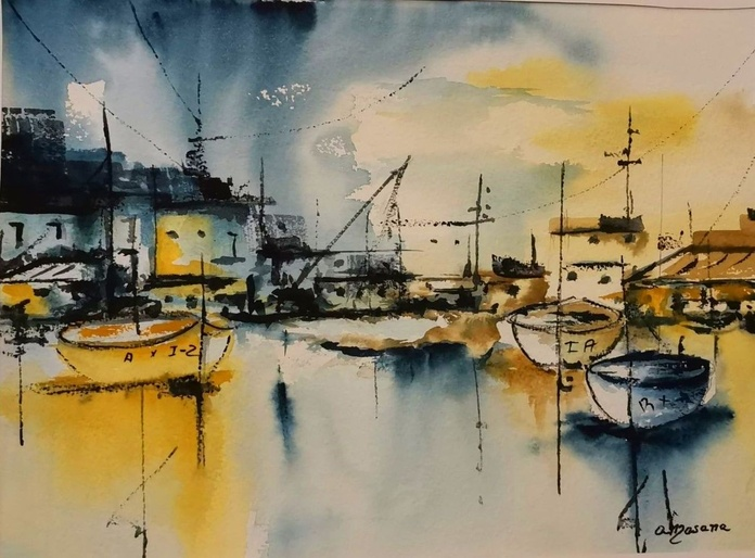 Barques. Aquarella/paper. 25x35cm. 275€.