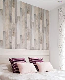 Proyecto Cabezal papel decorativo efecto madera.