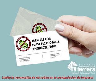 Tarjeta plastificado antibacteriano mate