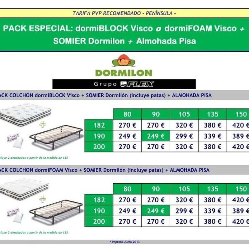 PACK DORMIBLOCK VISCO O DORMIFOAM VISCO + SOMIER DORMILÓN + ALMOHADA PISA: Catálogo de Miluna Bilbao