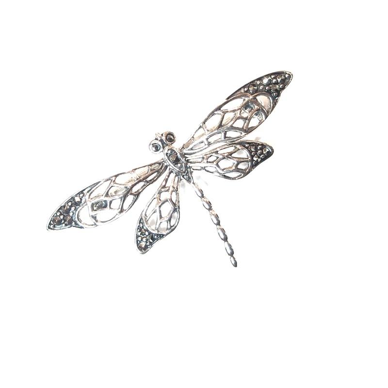 Broche de Plata de Ley y marcasitas. Ref.: AB-590/00: Catálogo de Antigua Joyeros