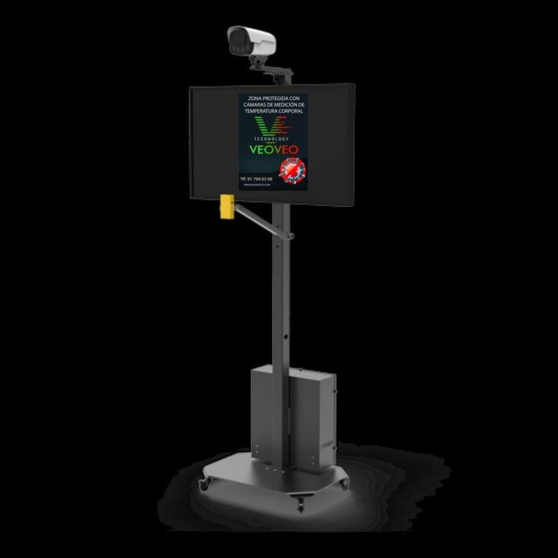 Sistema de medición de temperatura con pantalla y conteo de personas