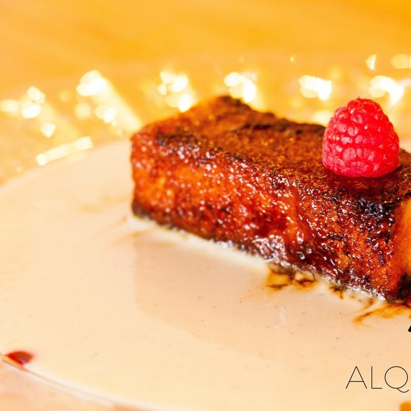 Torrija caramelizada con crema de vainilla: CARTA y Menús de Alquimia