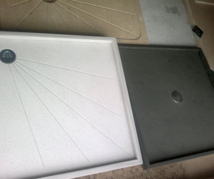 Plato de ducha de pizarra negra y blanco macael abuardado