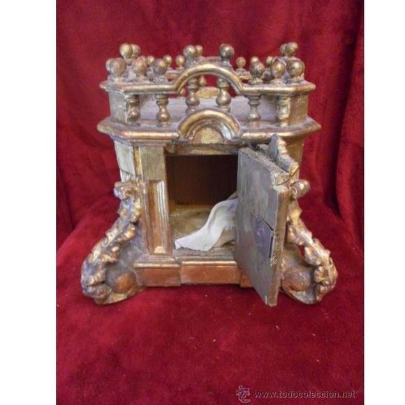 Sagrario / Custodia. Siglo XVII / XVIII. Madera policromada en dorado: Catálogo de Antiga Compra-Venta