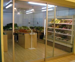 Puerta de aluminio corredera para supermercado
