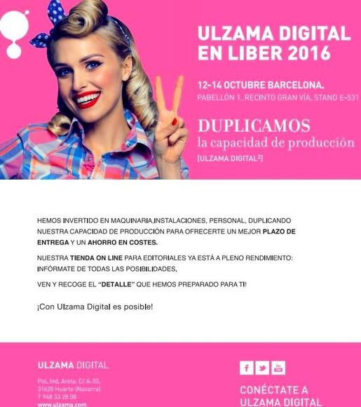 ULZAMA DIGITAL EN LIBER 2016!! 12-14 Octubre Barcelona