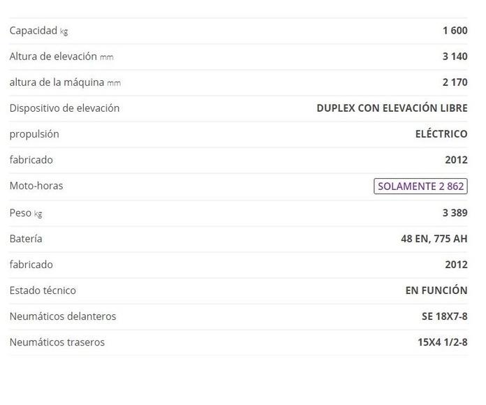 CARRETILLA ELECTRICA LINDE E16H: CATÁLOGO de HP Elevación