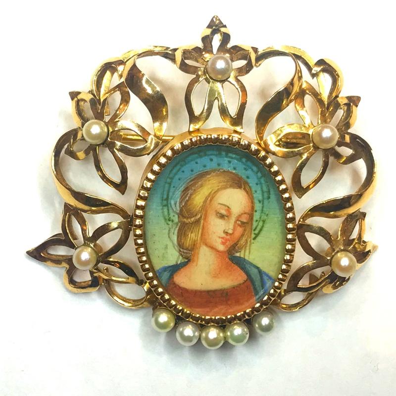 Broche Madonna sobre marfil.: Catálogo de Antigua Joyeros