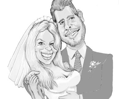 Caricatura pareja para invitaciones boda