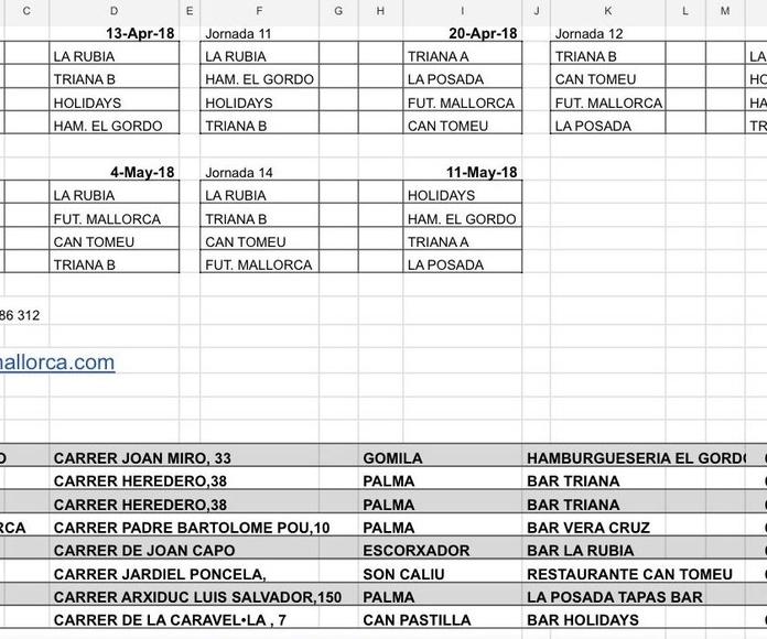 Calendario de futbolín Rem
