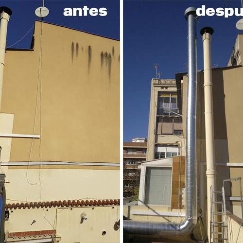 Extracción de aire industrial antes y después