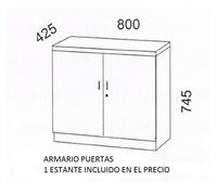 Armario de madera bajo con puertas ,cerradura y estante. serie Solber