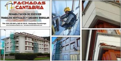Rehabilitación de fachada combinando andamio y trabajos verticales.