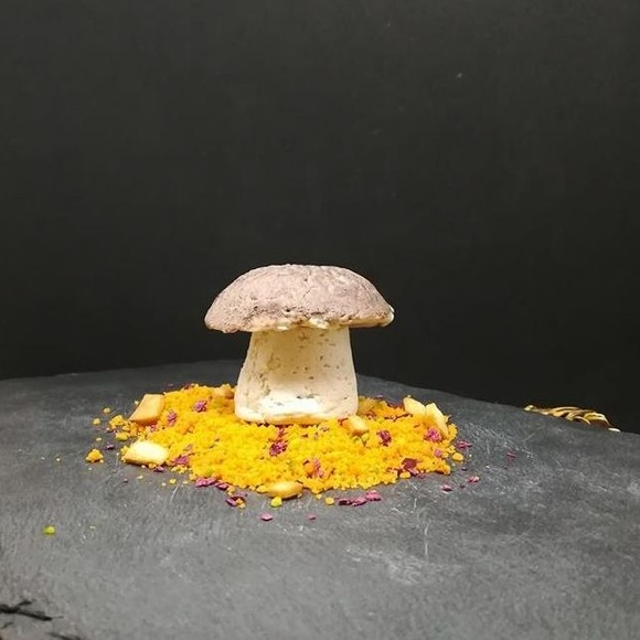 Mousse de Boletus sobre cama de tierra de almendras, remolacha liofilizada y corteza de trigo.