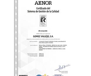 AENOR / Certificado del Sistema de Gestión de la Calidad