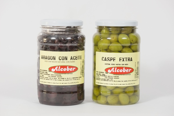 Aceituna Negra Natural Con Aceite y Aceituna Caspe Extra: Bote 800 g