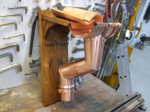 Canalón artesanal cobre natural