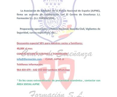 ACUERDO CON AJPNE ASOCIÓN JUBILADOS POLICÍA NACIONAL DE ESPAÑA