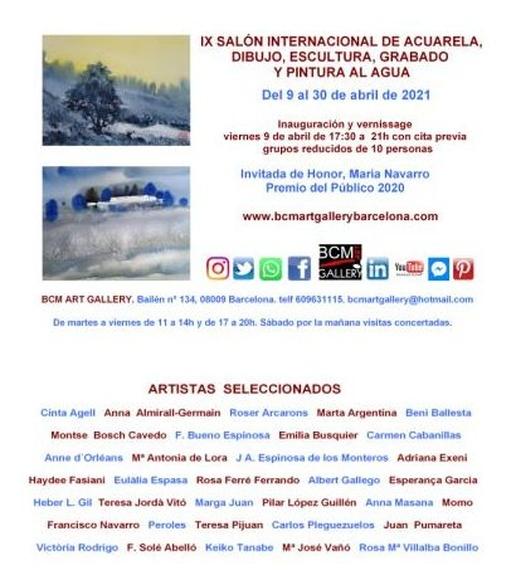 IX SALÓN DE ACUARELA , DIBUJO, GRABADO ESCULTURA  Y PINTURA AL AGUA: Exposiciones y artistas de MONTSERRAT BOSCH CAVEDO