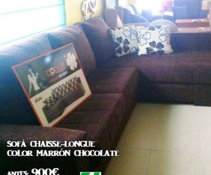 Sofá Chaisse- Longue Color marrón chocolate ANTES: 900€ OFERTA: 600€