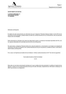 COMUNICACIÓN AGENCIA TRIBUTARIA SOBRE CUENTAS BANCARIAS