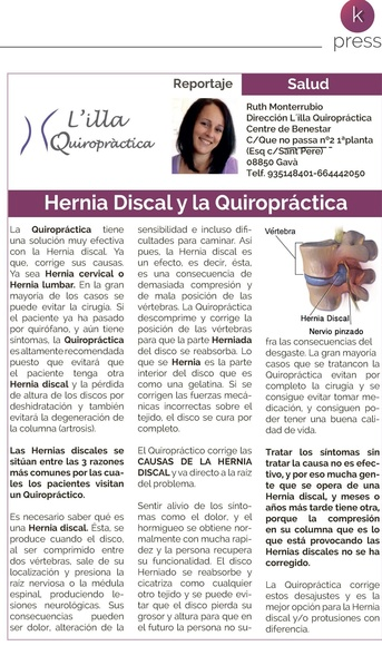 Cliníca Quiropráctica en Gavà y Hernia Discal