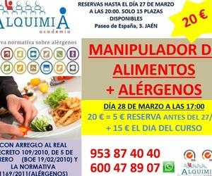 CURSO MANIPULADOR DE ALIMENTOS (INCLUYE ALERGENOS) 28/03/2019