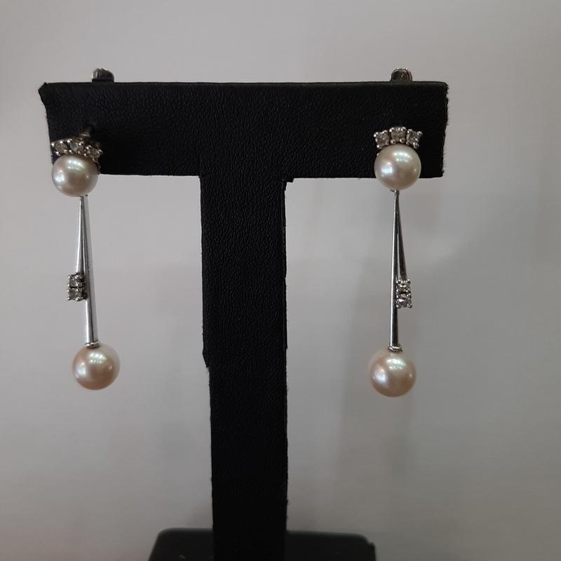 Pendientes en oro blanco, diamantes y perlas: Compra Venta de Oro y Plata de MR. SILVER & GOLD
