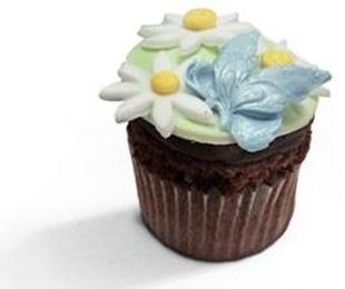 Cupcakes de chocolate con motivos primaverales