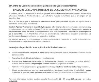 Aviso especial por fuertes lluvias en la Comunidad Valenciana a partir del 18 de octubre de 2018