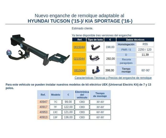 Nuevo enganche de remolque adaptable al Hyundai Tucson