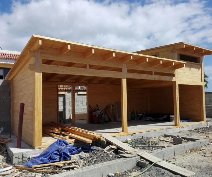 Cabaña de madera moderna en construcción tenerife Sur