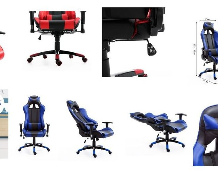 silla gaming color azul de alta calidad e inclinación completa
