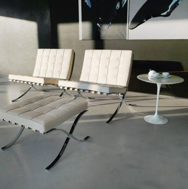 sofas réplica del Barcelona en Piel Blanca con ottoman blanco