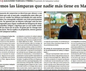 Entrevista en LA RAZÓN a ALEJANDRO TABOADA UTRERA Propietario de Lámparas Ludory