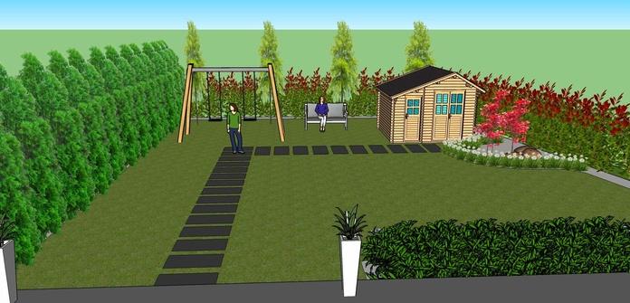 Proyecto de diseño de pequeño jardín de 200 m2, en el que el cliente quería incluir elementos de juego infantil, como columpio y casita de juegos.