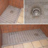 Plato de ducha cortado a cuatro aguas