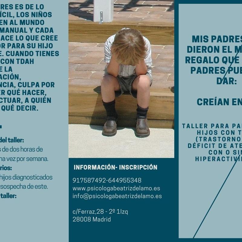 Taller para padres de hijos con TDAH: Servicios de Psicóloga Beatriz del Amo