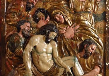 """""""Santo entierro"""" relieve de madera tallada"""