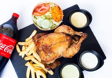 Combo de pollo a la brasa peruano