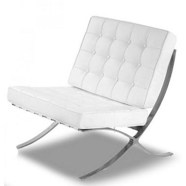 sillón Barcelona de una plaza en piel blanca.vista lateral
