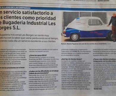 Un servicio satisfactorio a los clientes como prioridad de Bugaderia Industrial Les Borges S.L.