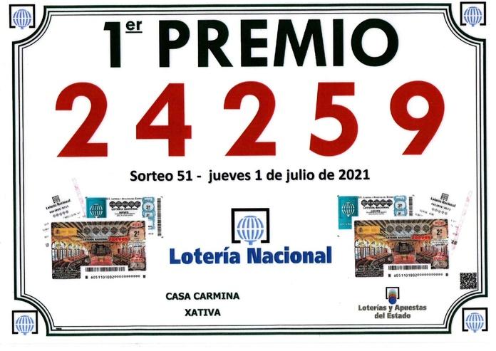 Primer premio de la lotería nacional del Jueves 01/07/2021