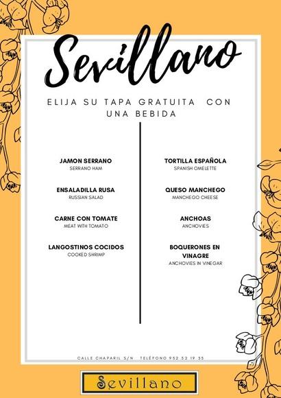 Restaurante Sevillano. Calle Chaparil s/n, Nerja: CARTA EL SEVILLANO de Restaurante Sevillano