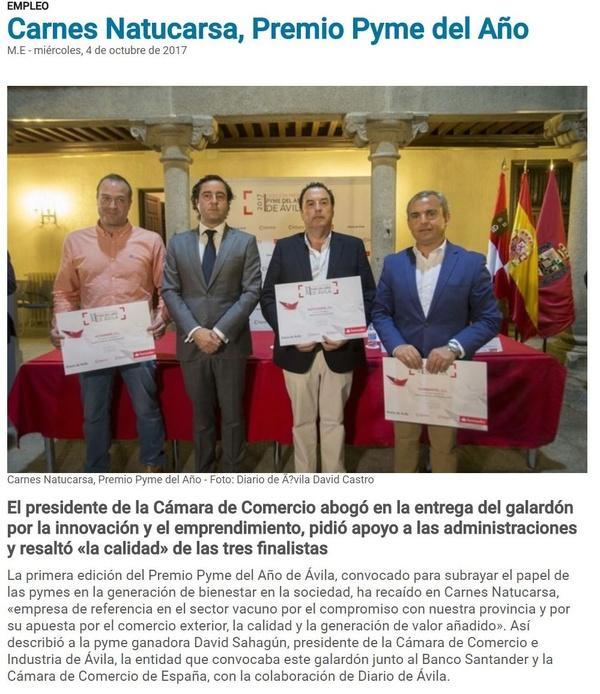 Natucarsa, Premio Pyme del Año en Ávila