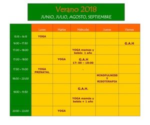 CLASES EN VERANO. Horarios y actividades
